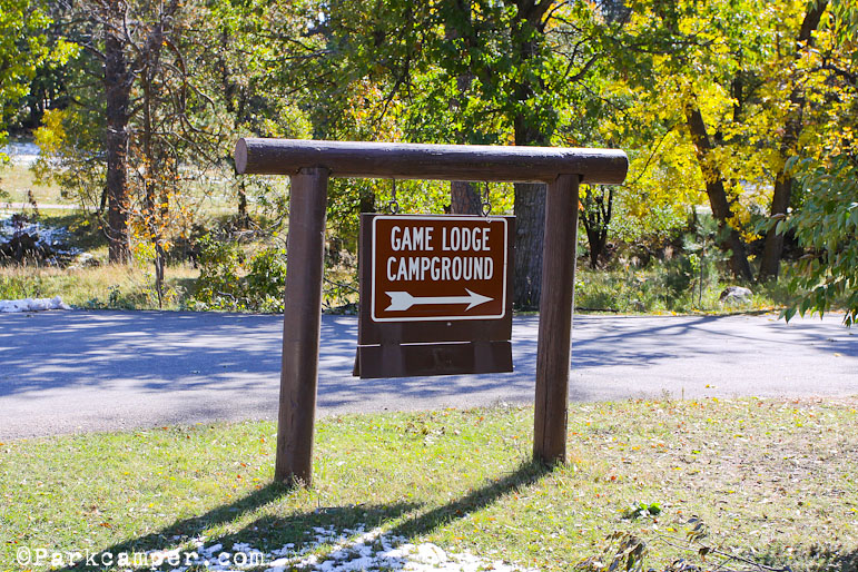Game Lodge Campground Sign In Custer Park
