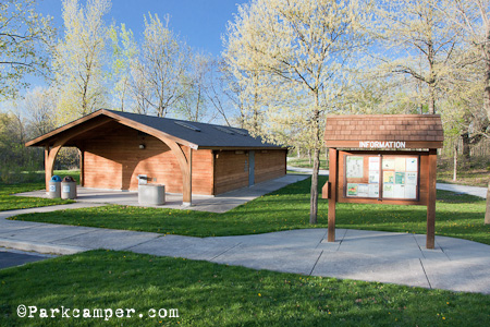 tan information center and bathrooms for campground
