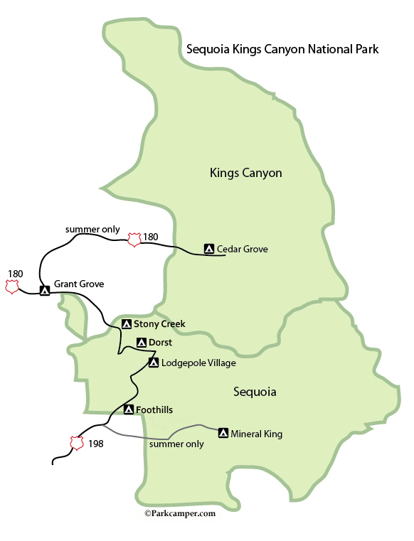Sequoia Kings Canyon Camping Page on giant sequoia national park map, kings canyon np map, california national parks map,